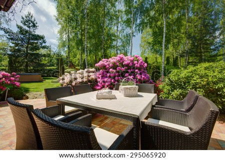 Stylish patio furniture in the beautiful garden - stock photo