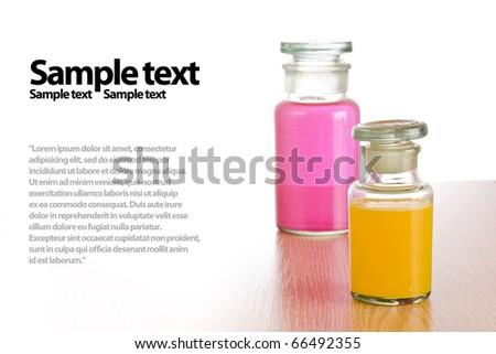 Stylish pharmacy bottles with medical liquid - stock photo