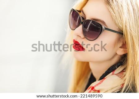 Stylish portrait of blonde woman - stock photo
