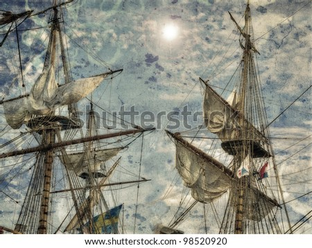 stylish poster with antique ships - stock photo
