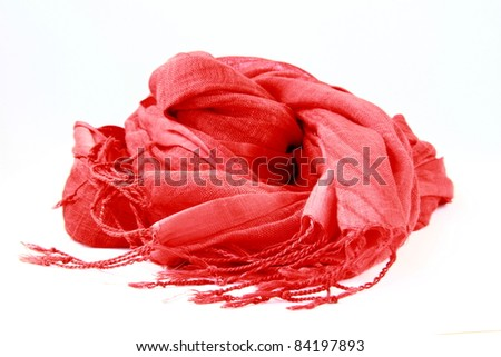 stylish red female scarf  on a white background