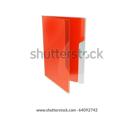 stylish red folder with glass cover and nice reflections - stock photo
