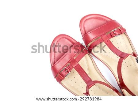Stylish Red Sandals Isolated on White Background - stock photo