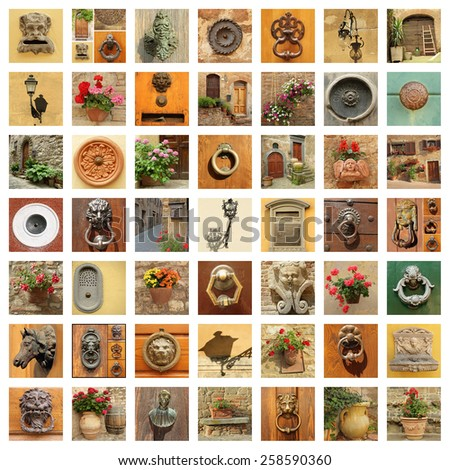 stylish retro front door details collage, Italy - stock photo