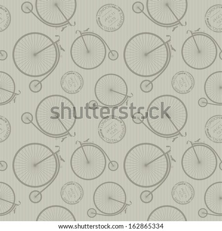 Stylish retro pattern background with big wheel bicycle and stamps.Raster version. - stock photo