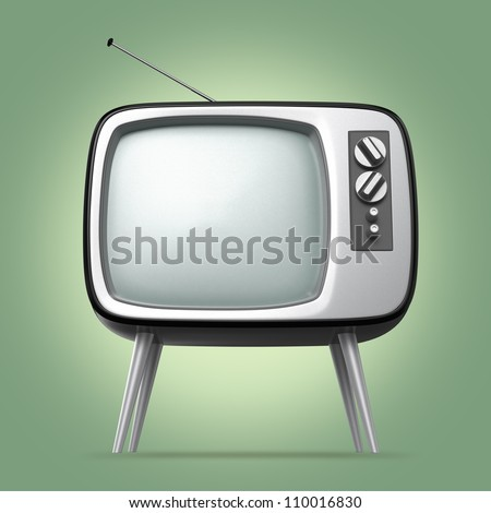 stylish retro TV with light green background