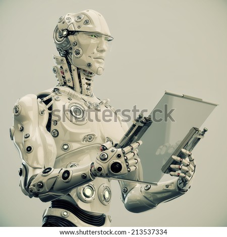 Stylish robot holds tablet / Smart cyborg man with notepad - stock photo