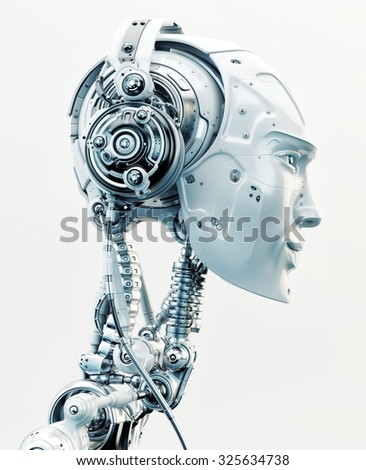 Stylish robotic head in side view listening to music in wired headphones / Robot listening music