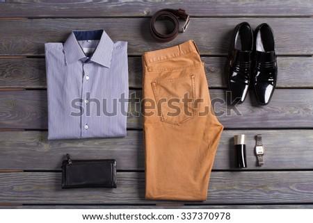 Stylish set of clothes business men. - stock photo