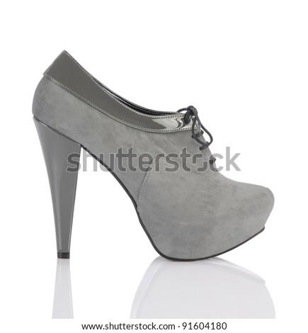 stylish silver gray shoe - stock photo