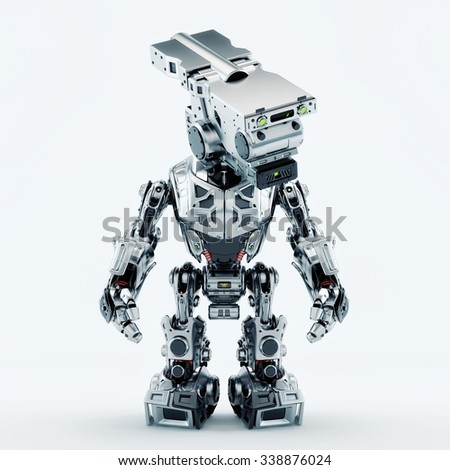 Stylish silver robot / Assistant bot for video surveillance - stock photo
