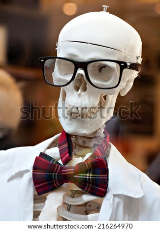 stylish skeleton in jacket and bow tie with skull in glasses - stock photo