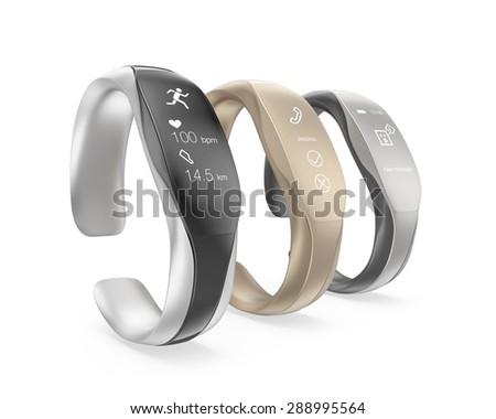 Stylish smart bands isolated on white background. Original design. Clipping path available.