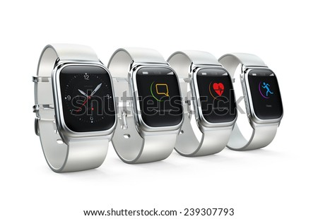 Stylish smart watches with different apps on white background