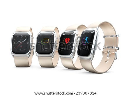 Stylish smart watches with different apps on white background - stock photo