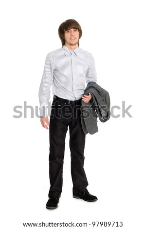 Stylish smiling young man holding a jacket