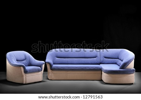 Stylish sofa and armchair on black. A part 7