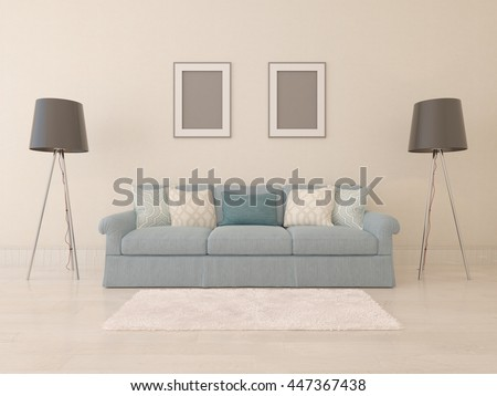 Stylish sofa , living room with classic floor lamps, 3d rendering. - stock photo