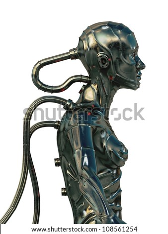 Stylish steel cyborg / 3d wired metal robot in profile isolated on white