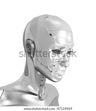 Stylish steel futuristic woman robot - stock photo
