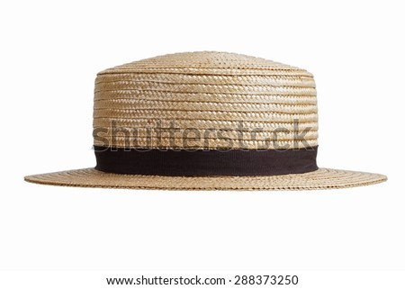 Stylish straw hat in retro style on a white background
