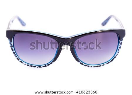 Stylish sunglasses isolated on white background. - stock photo