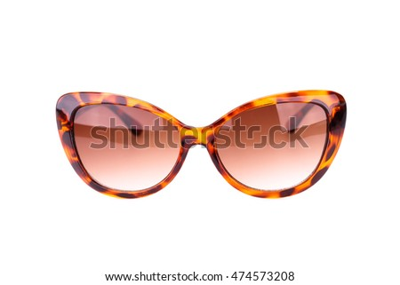 Stylish sunglasses isolated on white background.