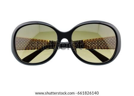 Stylish sunglasses isolated on white background. Sunglasses are a form of protective eyewear designed to prevent direct bright sunlight and harmful high energy visible light from damaging the eyes.