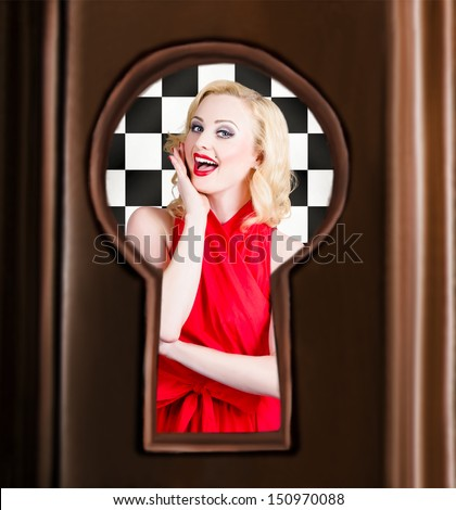 Stylish surprised women portrait. Secret pin up view through closed door key hole - stock photo