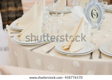 Stylish table set for wedding dinner, prom