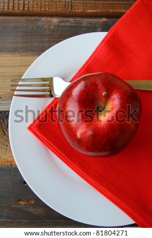 Stylish tableware, with fresh apple - stock photo