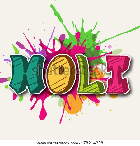 Stylish text Holi on colours splash background, concept for Indian colours festival Happy Holi.