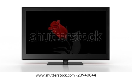 Stylish TV showing a rose(front).