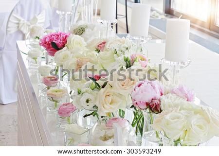 Stylish Unusualglamorous Pink Wedding Table Decoration Stock Photo ...