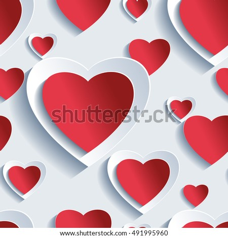 Stylish Valentine's day background seamless pattern with red and grey paper 3d hearts. Beautiful abstract trendy wallpaper. Valentine's day love card. Raster illustration