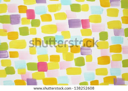 Stylish white wall with many varicoloured brush strokes in kids room. - stock photo