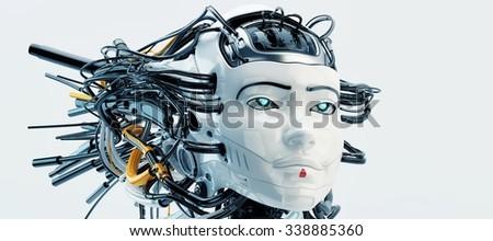 Stylish wired head of beautiful robotic geisha girl  - stock photo