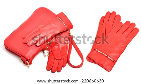 Stylish woman coral bag, gloves and a scarf isolated on white background. collage