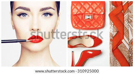 Stylish woman outfit in red colors on white background - stock photo