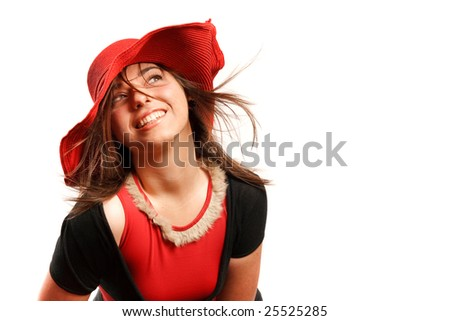 Stylish woman wearing a red hat. - stock photo