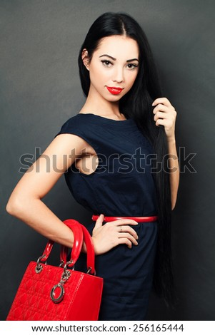 Stylish woman with long hair - stock photo