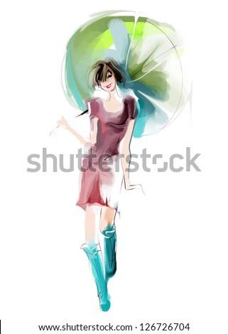 Stylish woman with umbrella - stock photo