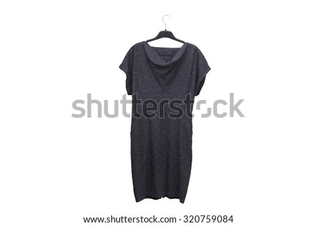 Stylish women's grey dress on a hanger isolated on white background