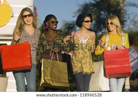 Stylish Women Shopping Together - stock photo