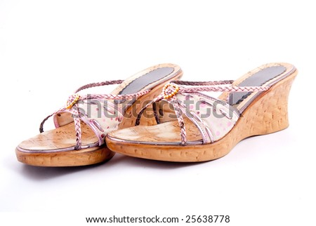 Stylish women summer foot wear isolated on white