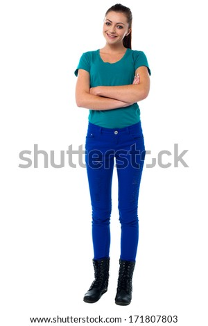 Stylish young lady posing with confidence