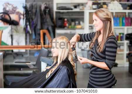Stylist curling womans hair in beauty salon .