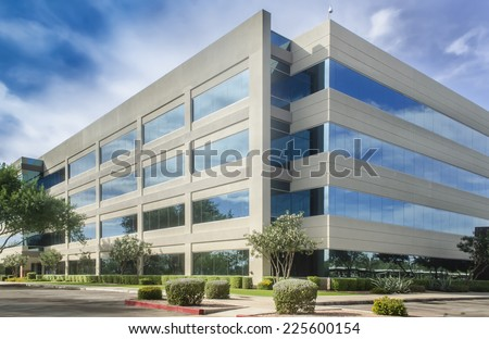 Stylized altered generic corporate modern office building  - stock photo