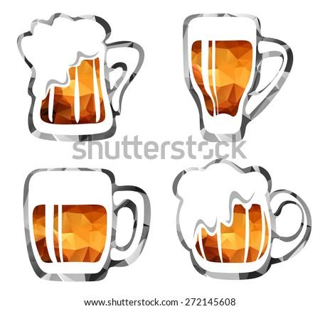 Stylized beer mugs isolated on a white background. - stock photo