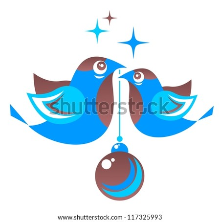 Stylized birds with Christmas ball isolated on a white background.